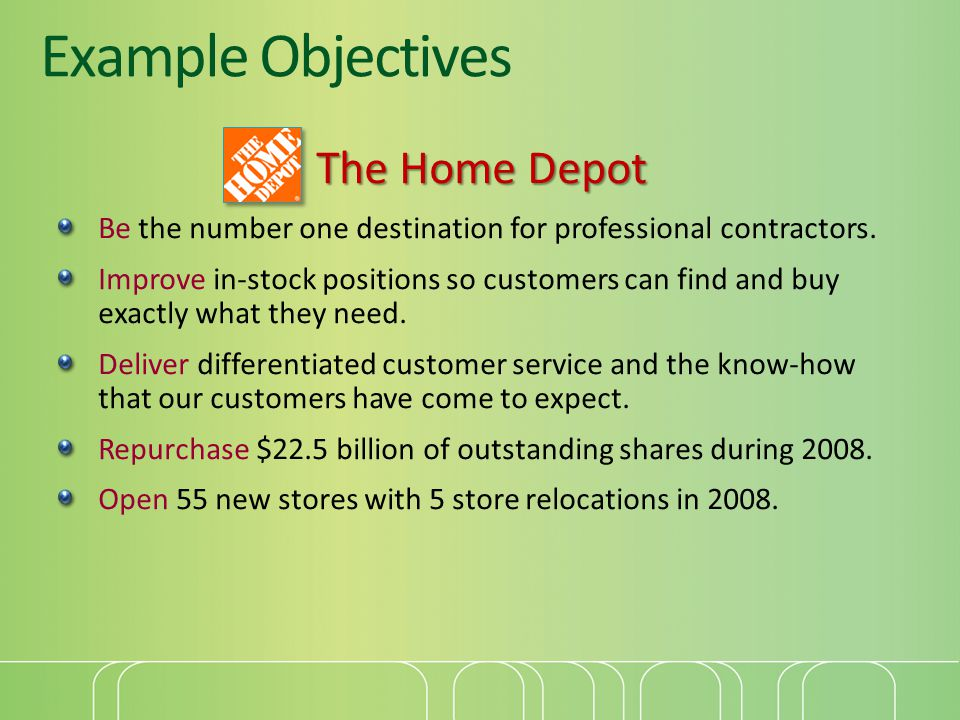 Example Objectives The Home Depot