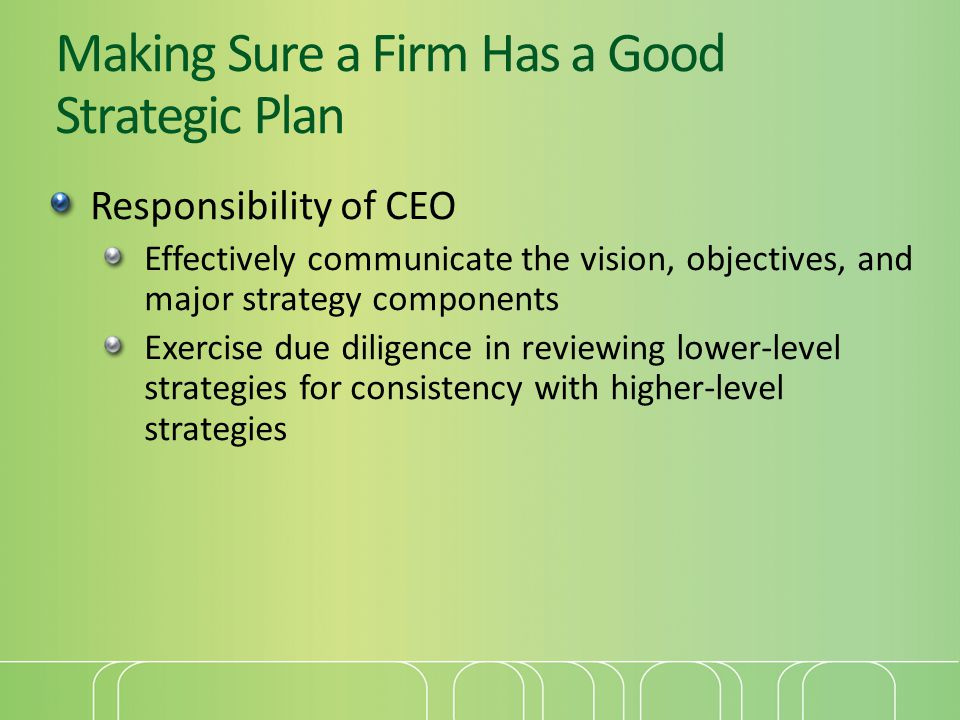 Making Sure a Firm Has a Good Strategic Plan