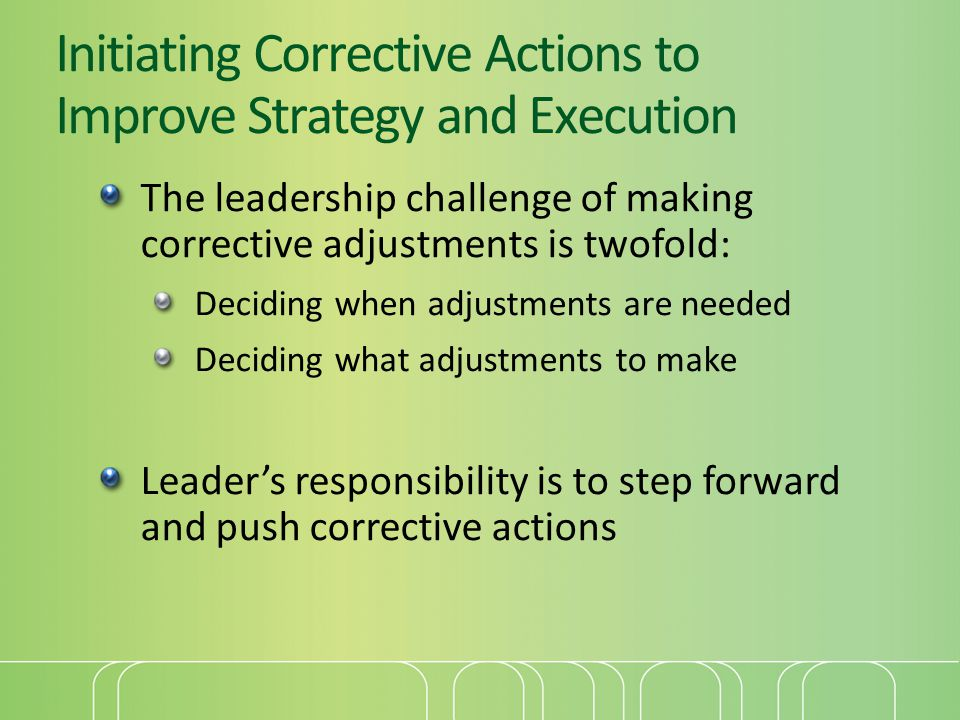 Initiating Corrective Actions to Improve Strategy and Execution