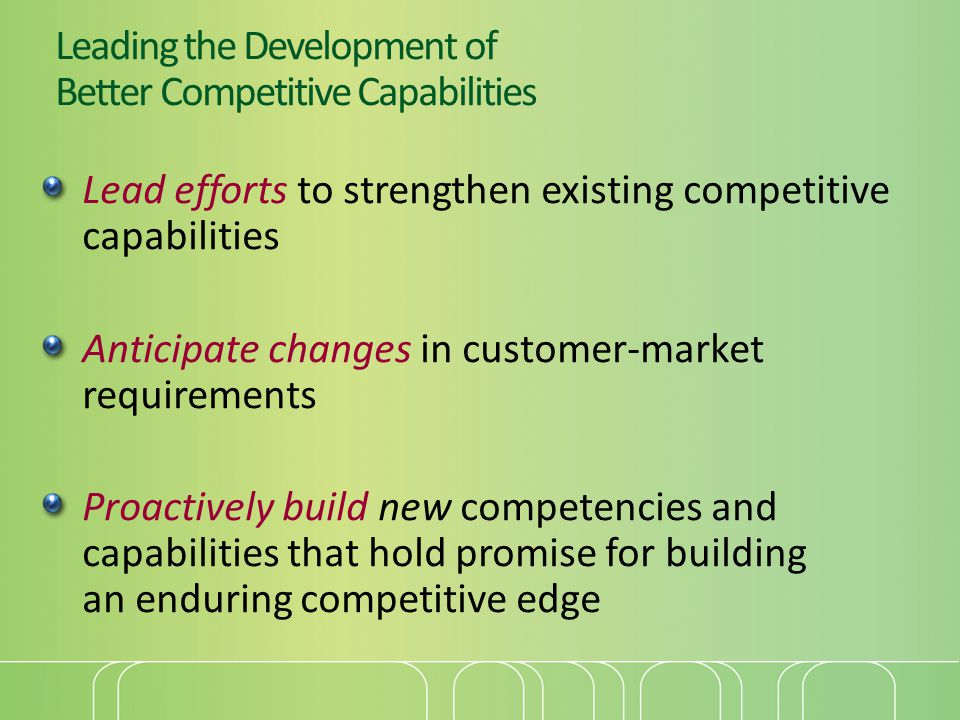 Leading the Development of Better Competitive Capabilities