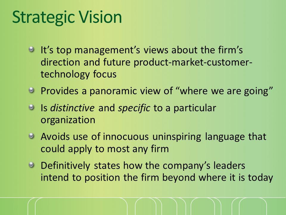Strategic Vision It's top management's views about the firm's direction and future product-market-customer- technology focus.