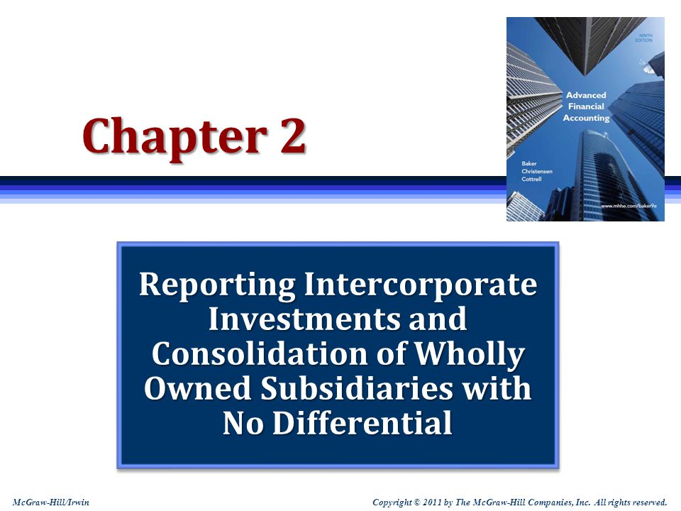 Chapter 2 Reporting Intercorporate Investments and Consolidation of Wholly Owned Subsidiaries with No Differential.