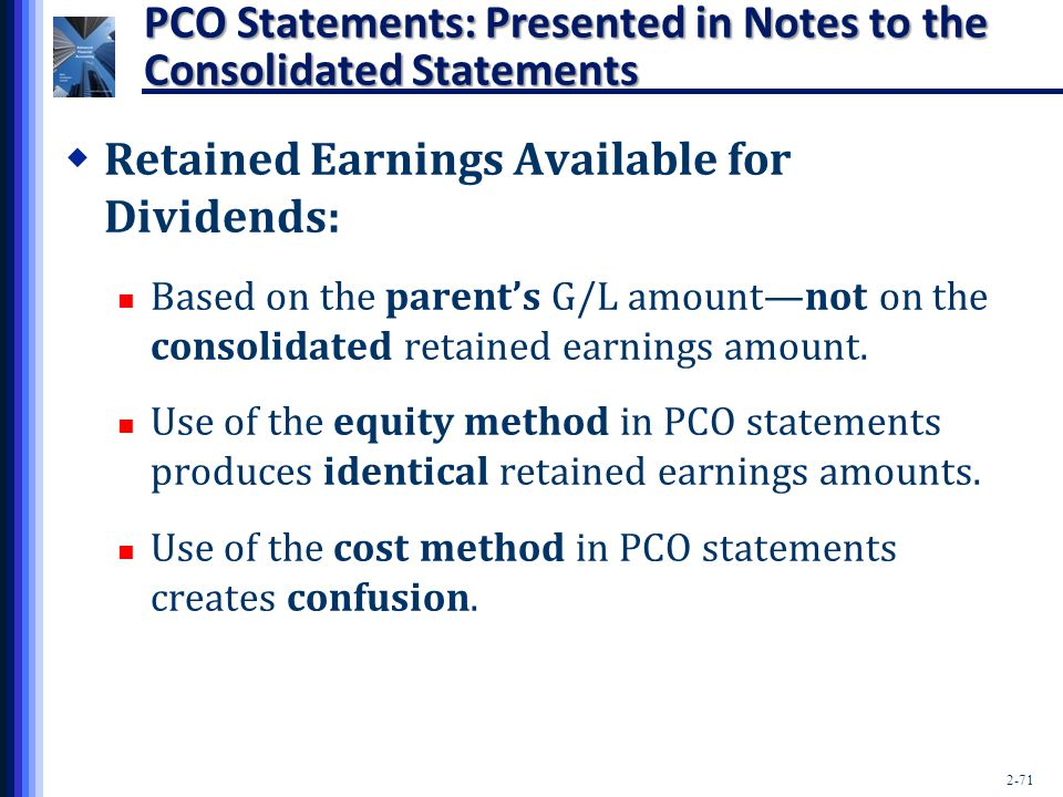 PCO Statements: Presented in Notes to the Consolidated Statements