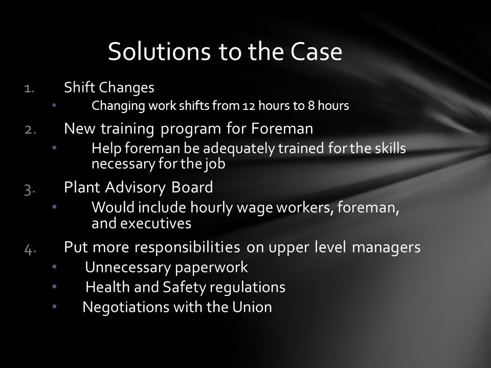 Solutions to the Case New training program for Foreman