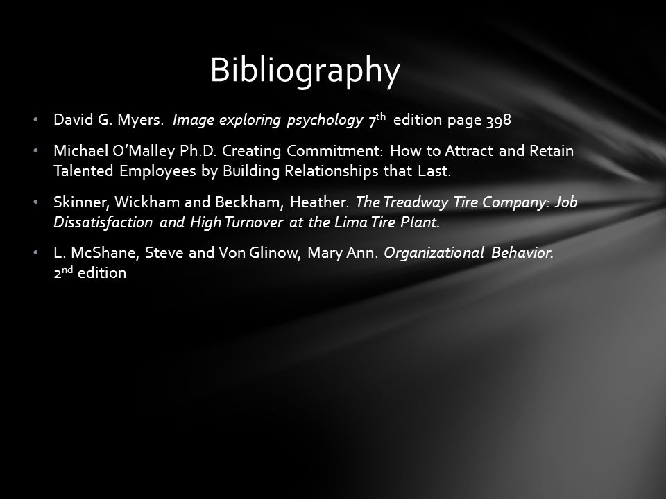 Bibliography David G. Myers. Image exploring psychology 7th edition page 398.