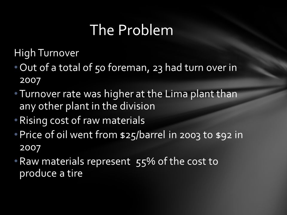The Problem High Turnover