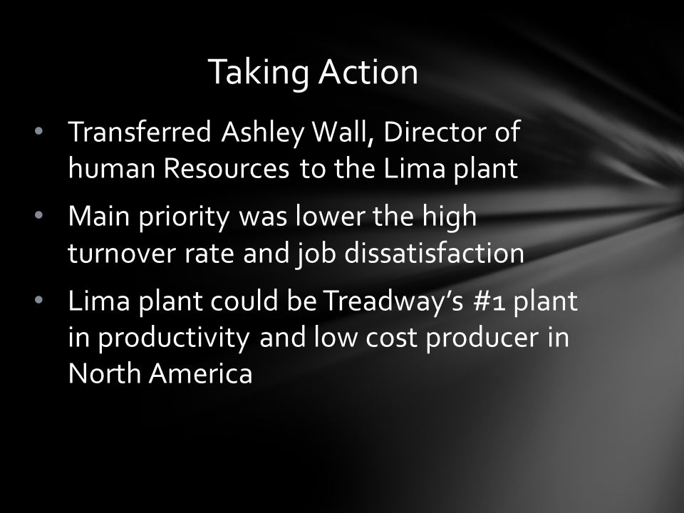 Taking Action Transferred Ashley Wall, Director of human Resources to the Lima plant.