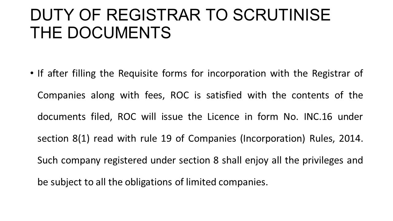 DUTY OF REGISTRAR TO SCRUTINISE THE DOCUMENTS