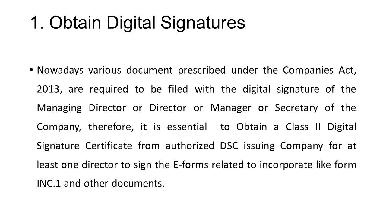 1. Obtain Digital Signatures