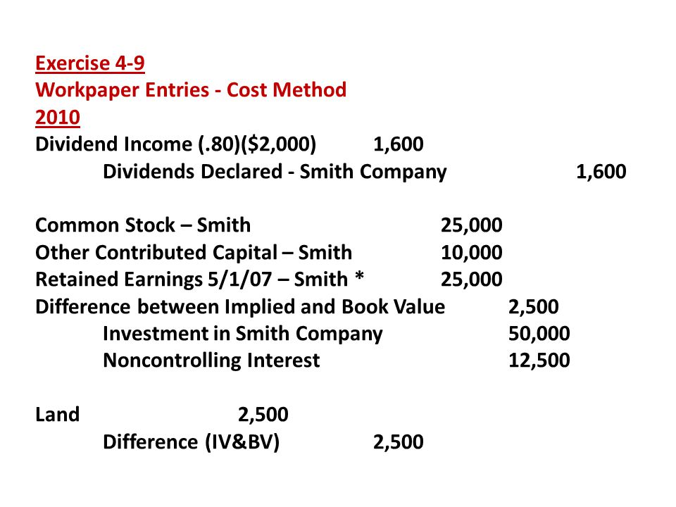 Exercise 4-9 Workpaper Entries - Cost Method. 2010. Dividend Income (.80)($2,000) 1,600. Dividends Declared - Smith Company 1,600.