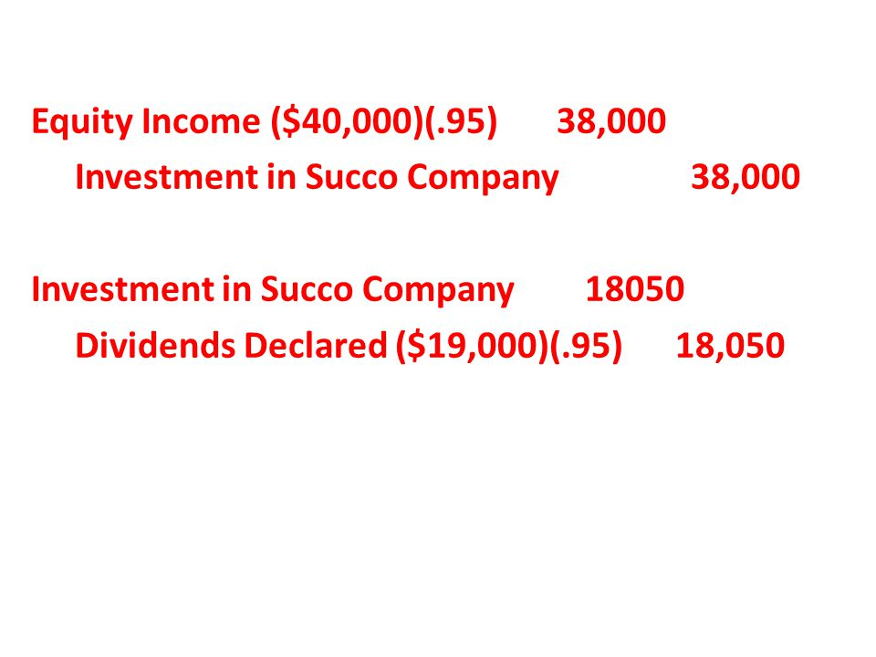 Equity Income ($40,000)(.95) 38,000 Investment in Succo Company 38,000 Investment in Succo Company 18050 Dividends Declared ($19,000)(.95) 18,050