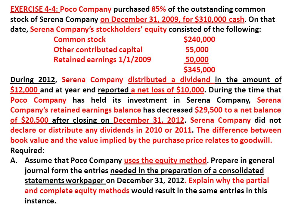 EXERCISE 4-4: Poco Company purchased 85% of the outstanding common stock of Serena Company on December 31, 2009, for $310,000 cash. On that date, Serena Company's stockholders' equity consisted of the following:
