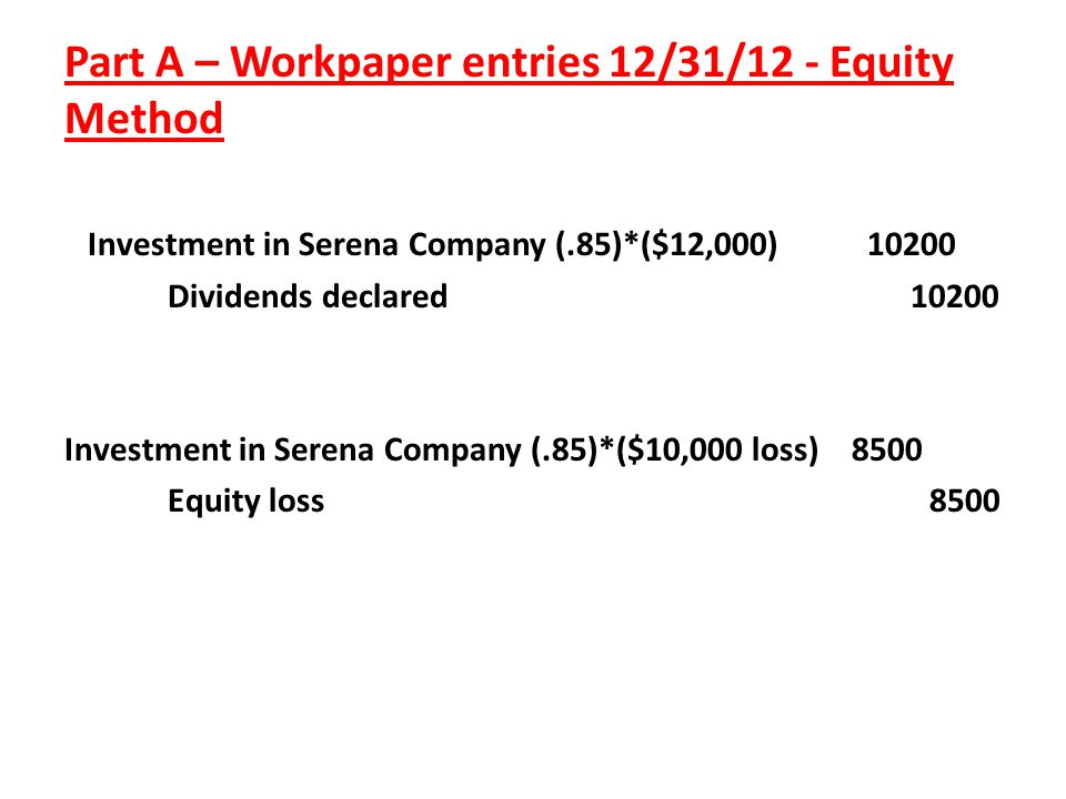 Part A – Workpaper entries 12/31/12 - Equity Method