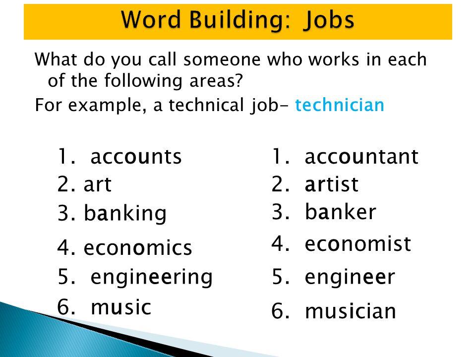 Word Building: Jobs 1. accounts 1. accountant 2. art 2. artist