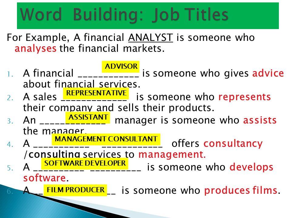 Word Building: Job Titles