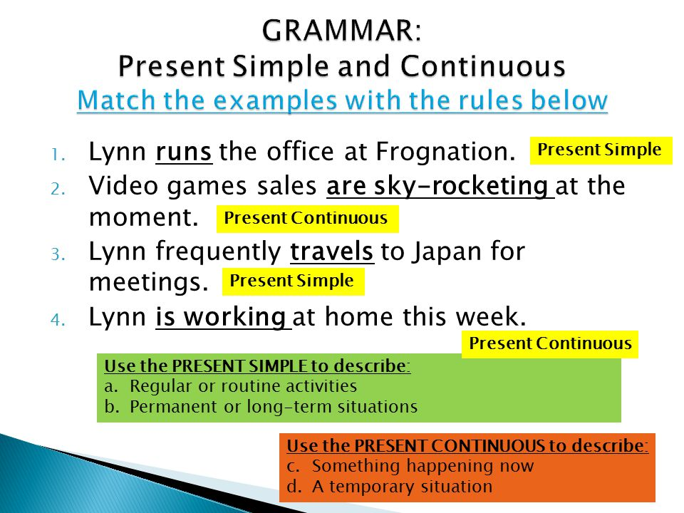 GRAMMAR: Present Simple and Continuous Match the examples with the rules below