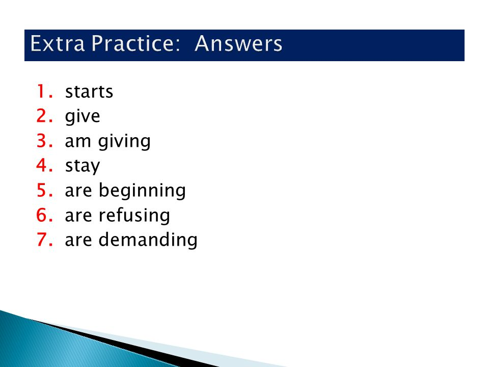 Extra Practice: Answers