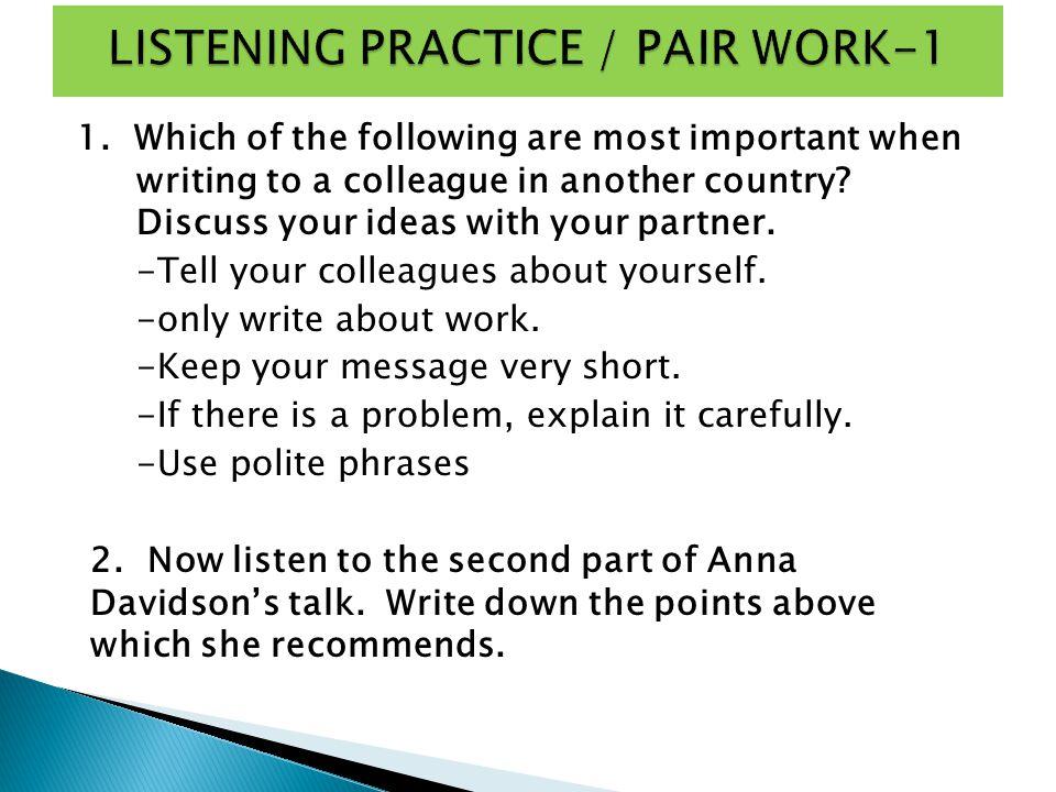LISTENING PRACTICE / PAIR WORK-1