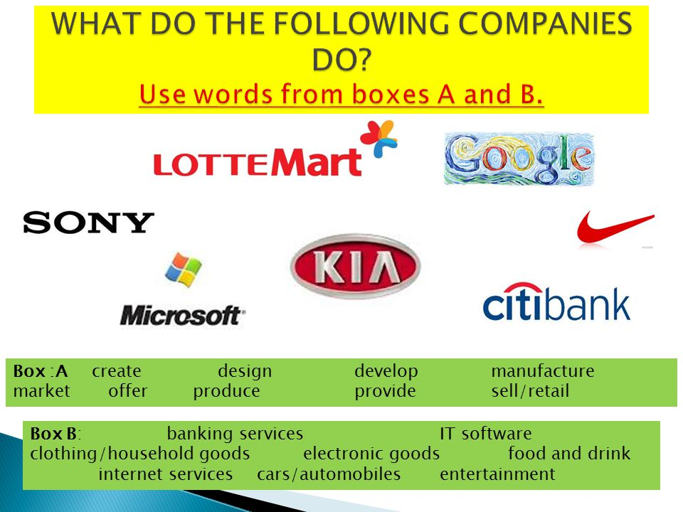WHAT DO THE FOLLOWING COMPANIES DO Use words from boxes A and B.