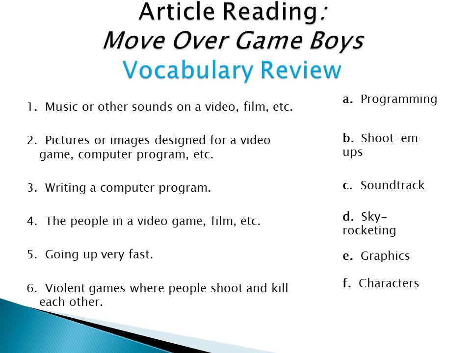 Article Reading: Move Over Game Boys Vocabulary Review