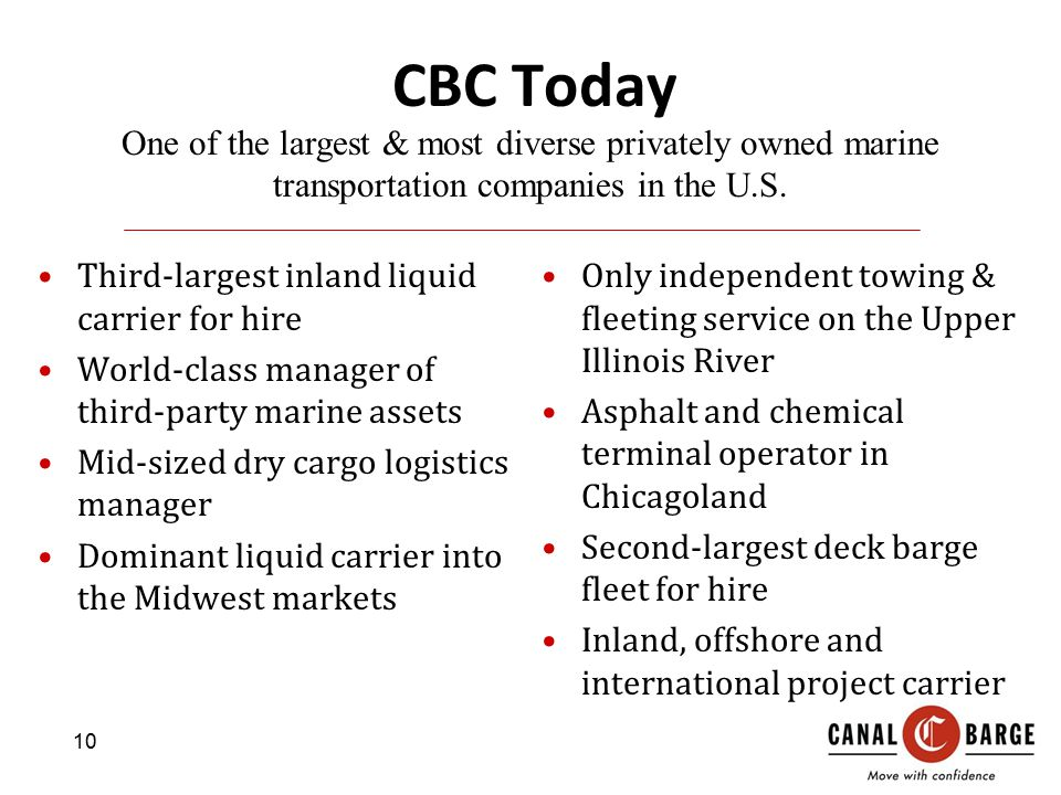 CBC Today One of the largest & most diverse privately owned marine transportation companies in the U.S.