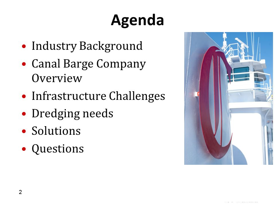 Agenda Industry Background Canal Barge Company Overview