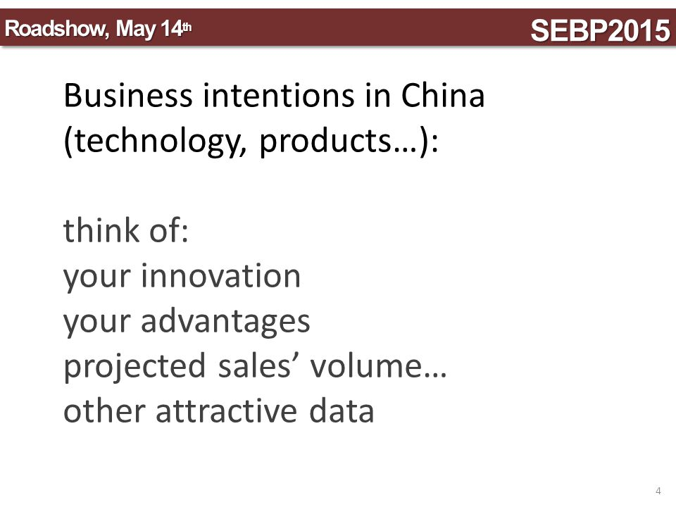Business intentions in China (technology, products…): think of: your innovation your advantages projected sales' volume… other attractive data