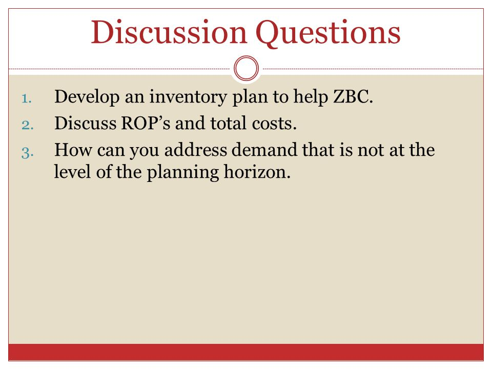 Discussion Questions Develop an inventory plan to help ZBC.