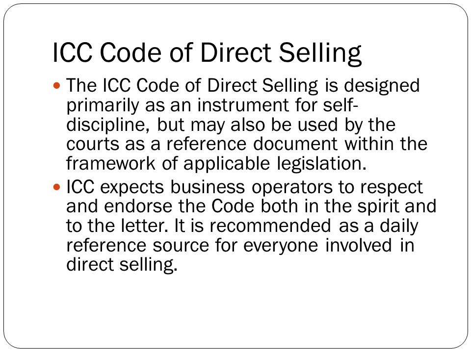 ICC Code of Direct Selling