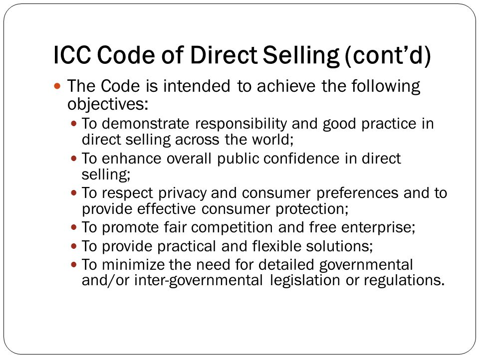 ICC Code of Direct Selling (cont'd)