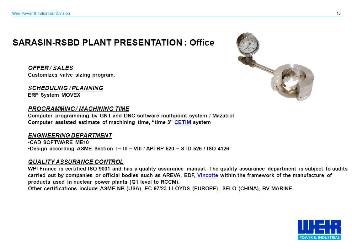 SARASIN-RSBD PLANT PRESENTATION : Office