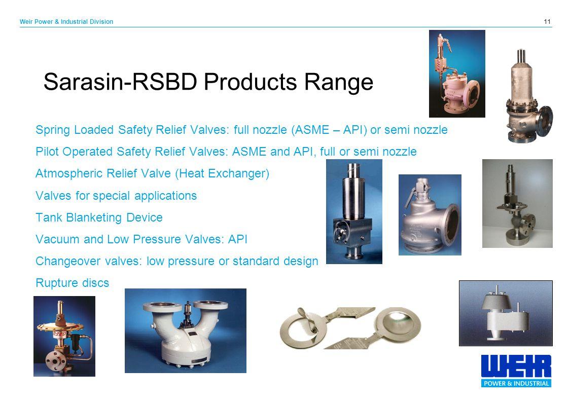 Sarasin-RSBD Products Range
