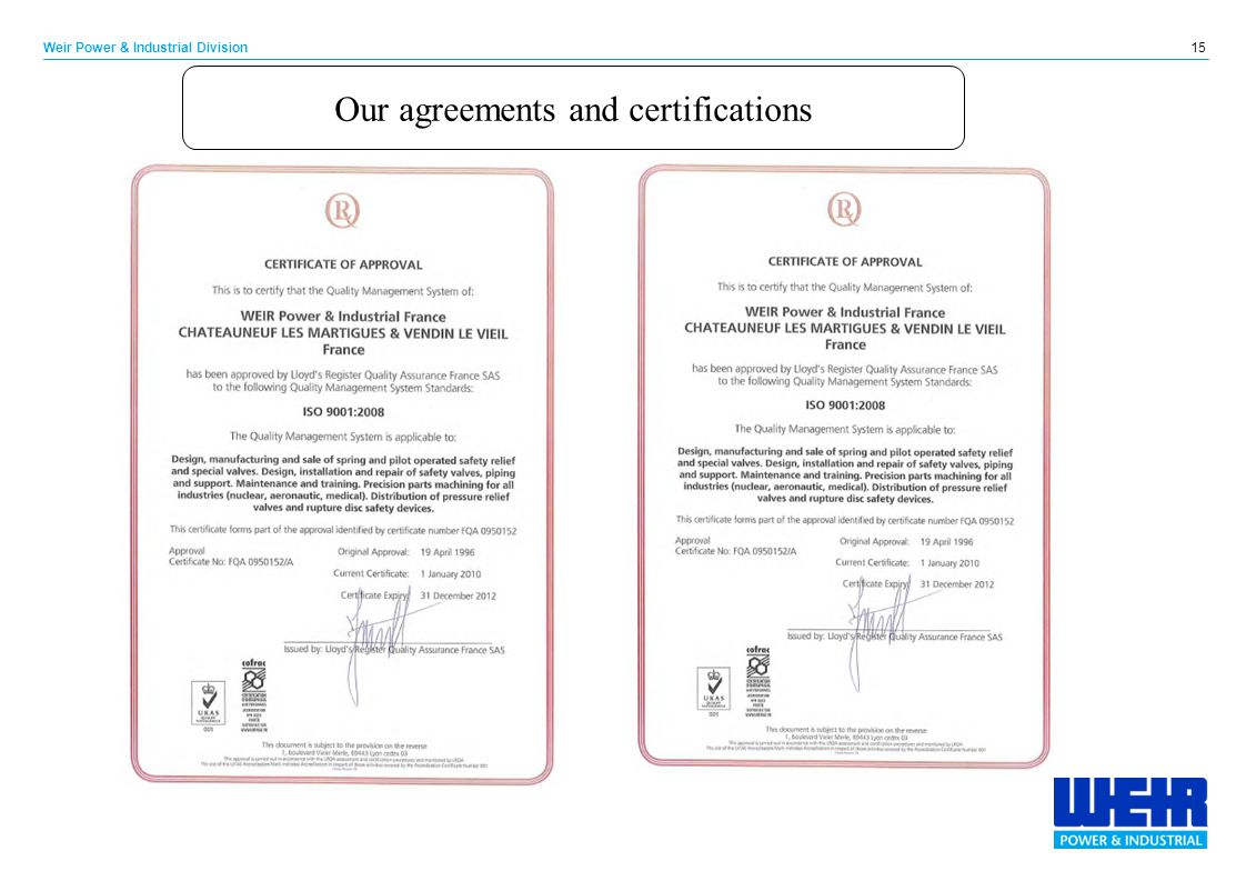 Our agreements and certifications