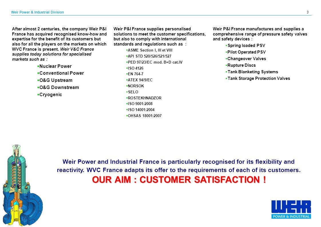OUR AIM : CUSTOMER SATISFACTION !