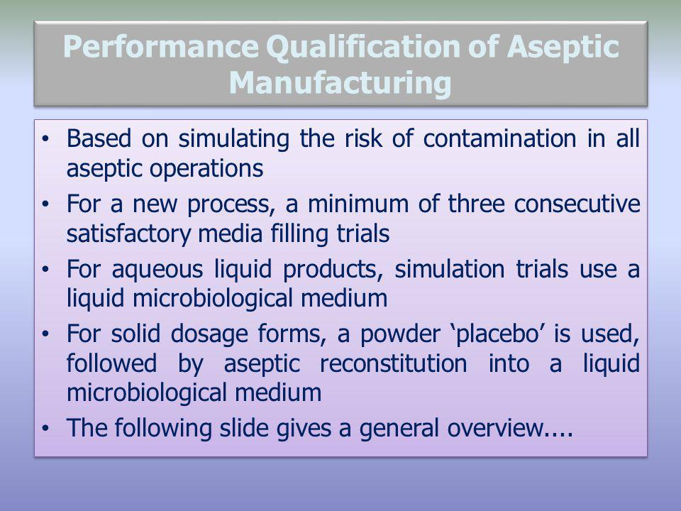 Performance Qualification of Aseptic Manufacturing