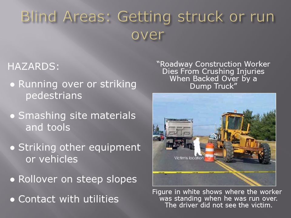Blind Areas: Getting struck or run over