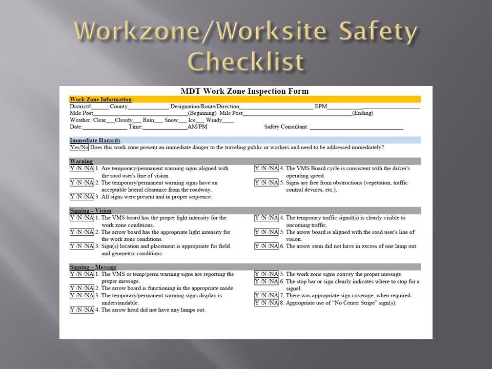 Workzone/Worksite Safety Checklist