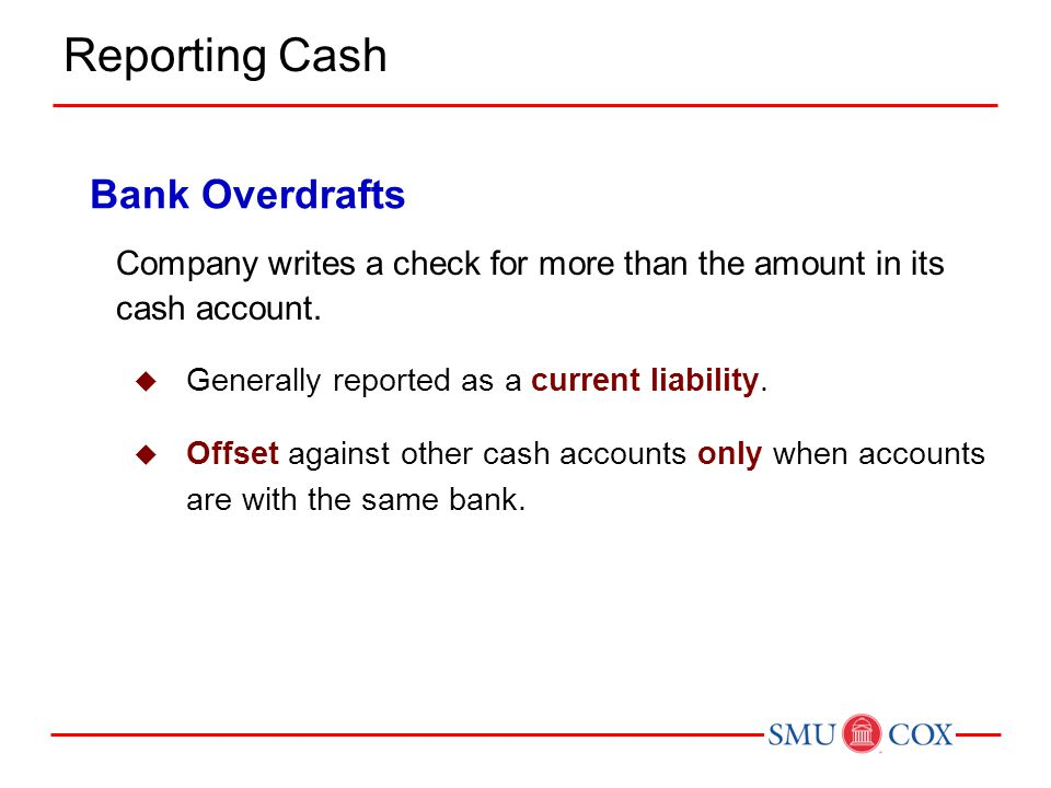 Reporting Cash Bank Overdrafts