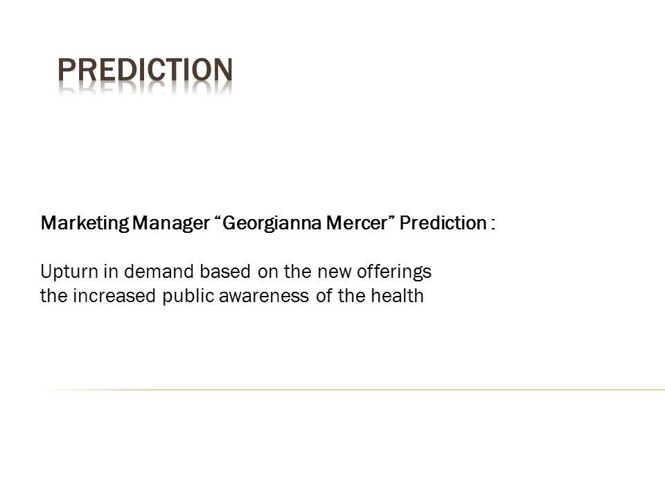 Prediction Marketing Manager Georgianna Mercer Prediction :