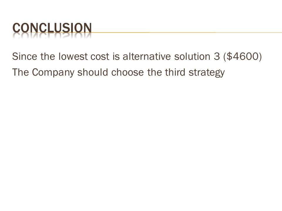 Conclusion Since the lowest cost is alternative solution 3 ($4600) The Company should choose the third strategy