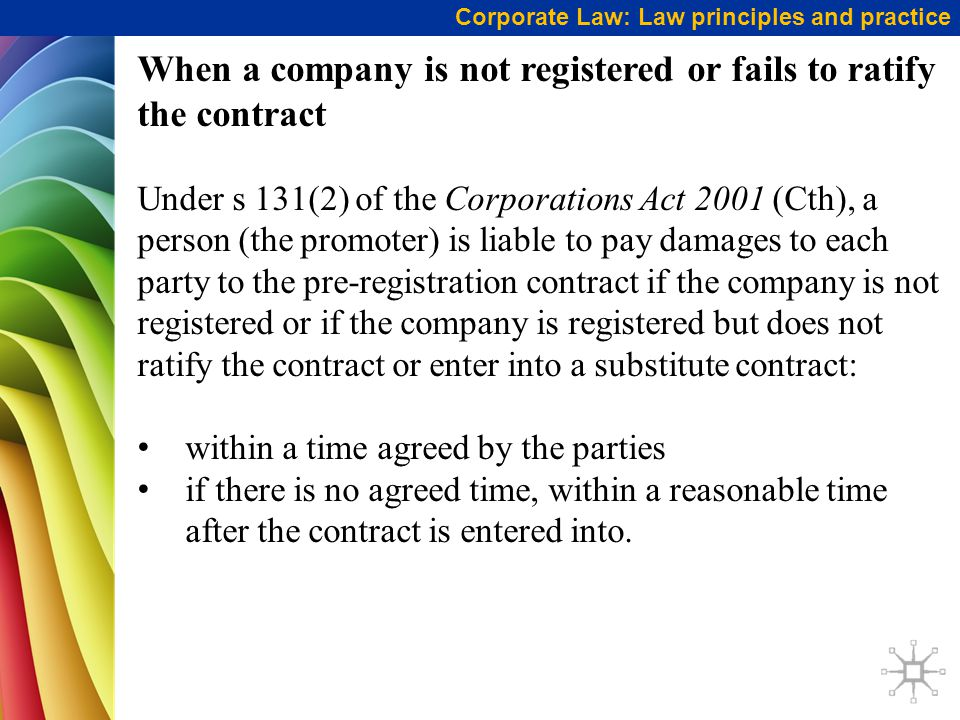 When a company is not registered or fails to ratify the contract
