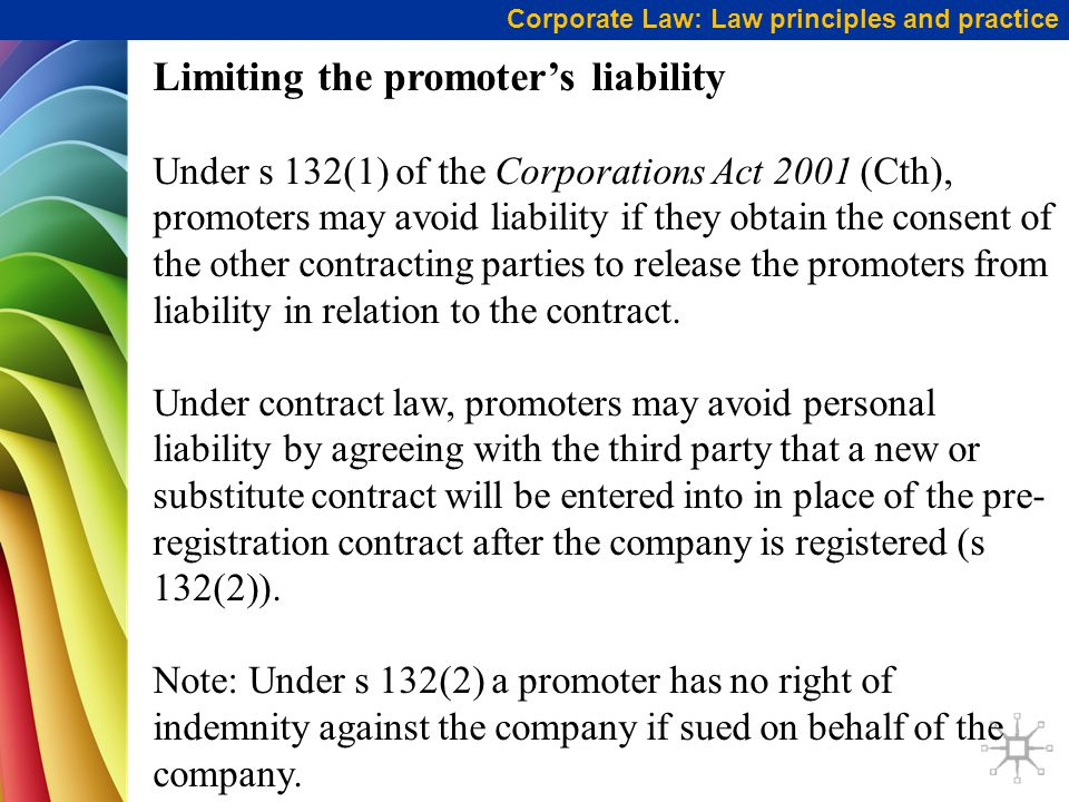 Limiting the promoter's liability