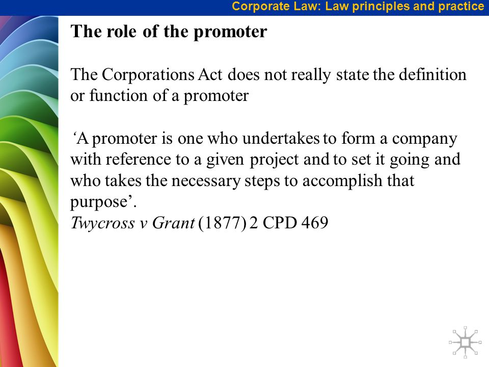 The role of the promoter