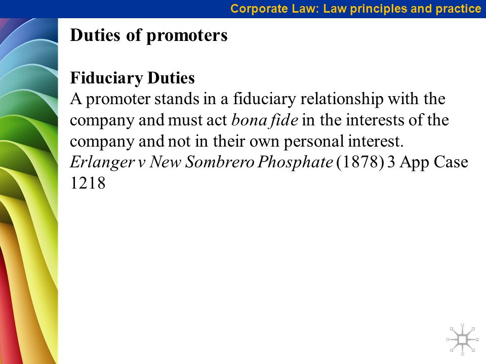 Duties of promoters Fiduciary Duties