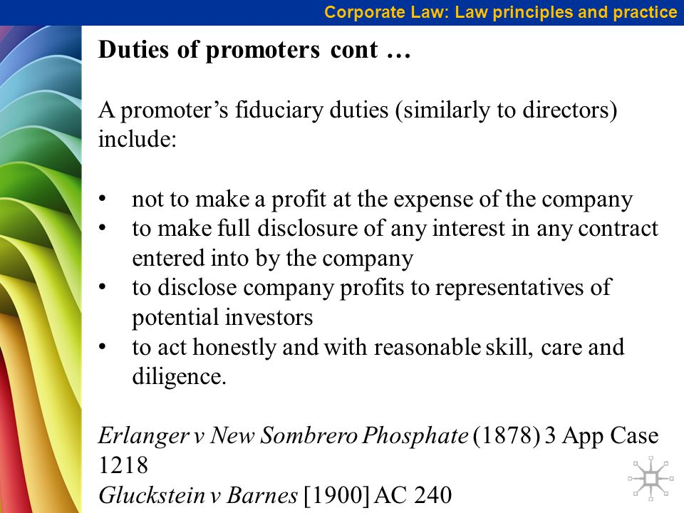 Duties of promoters cont …