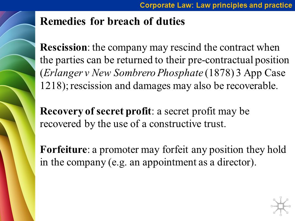 Remedies for breach of duties