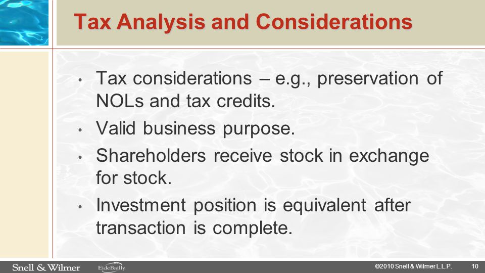Tax Analysis and Considerations