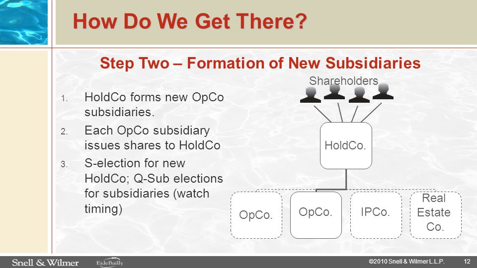 Step Two – Formation of New Subsidiaries