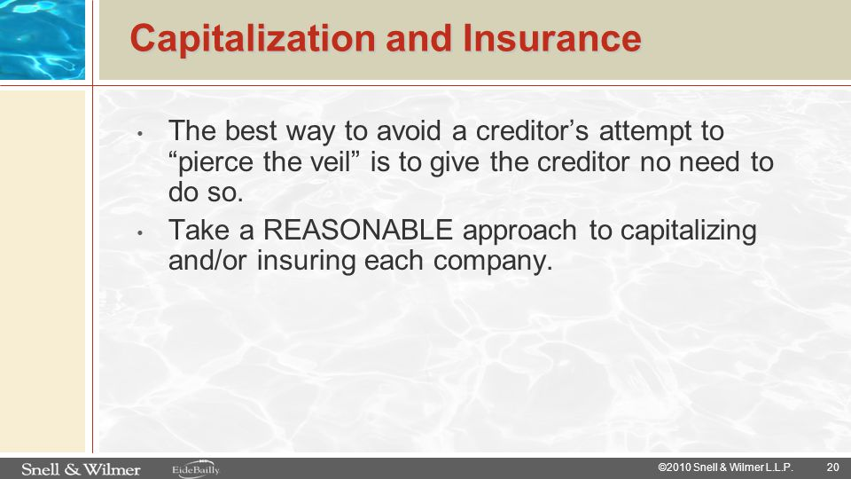 Capitalization and Insurance