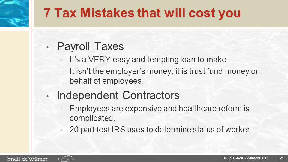 7 Tax Mistakes that will cost you